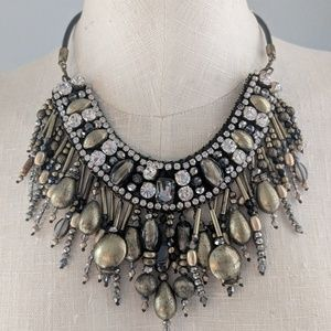Chico's 30th anniversary gold & black bib necklace